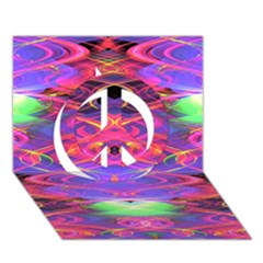 Neon Night Dance Party Pink Purple Peace Sign 3D Greeting Card (7x5)