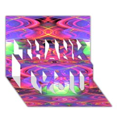 Neon Night Dance Party Pink Purple THANK YOU 3D Greeting Card (7x5)