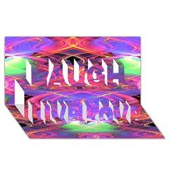 Neon Night Dance Party Pink Purple Laugh Live Love 3D Greeting Card (8x4)