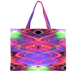 Neon Night Dance Party Pink Purple Large Tote Bag