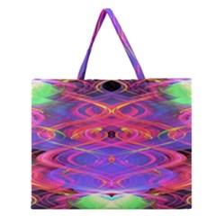 Neon Night Dance Party Pink Purple Zipper Large Tote Bag