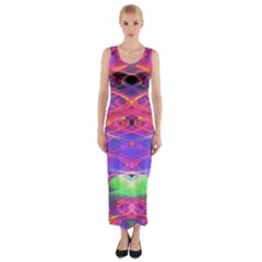 Neon Night Dance Party Pink Purple Fitted Maxi Dress
