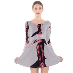 Pyramid Head Drippy Long Sleeve Velvet Skater Dress