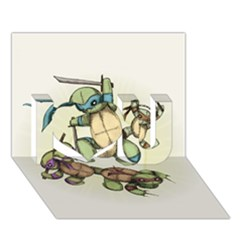 Teenage Mutant Ninja Plushies  I Love You 3D Greeting Card (7x5)