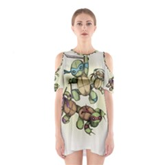 Teenage Mutant Ninja Plushies  Cutout Shoulder Dress