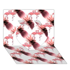 Flamingo Pineapple Tropical Pink Pattern Heart 3D Greeting Card (7x5)