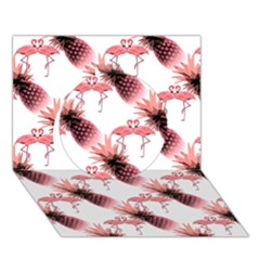 Flamingo Pineapple Tropical Pink Pattern Circle 3D Greeting Card (7x5)