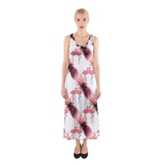 Flamingo Pineapple Tropical Pink Pattern Sleeveless Maxi Dress