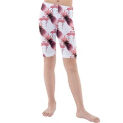 Flamingo Pineapple Tropical Pink Pattern Kid s Mid Length Swim Shorts