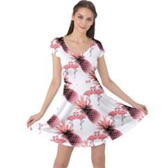 Flamingo Pineapple Tropical Pink Pattern Cap Sleeve Dresses