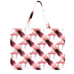 Flamingo Pineapple Tropical Pink Pattern Large Tote Bag