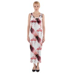 Flamingo Pineapple Tropical Pink Pattern Fitted Maxi Dress