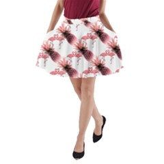 Flamingo Pineapple Tropical Pink Pattern A-Line Pocket Skirt