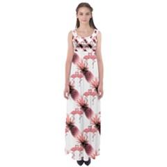 Flamingo Pineapple Tropical Pink Pattern Empire Waist Maxi Dress