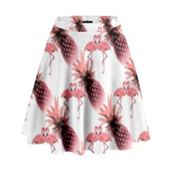 Flamingo Pineapple Tropical Pink Pattern High Waist Skirt
