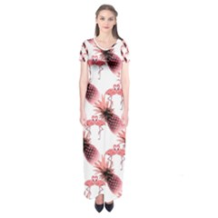 Flamingo Pineapple Tropical Pink Pattern Short Sleeve Maxi Dress