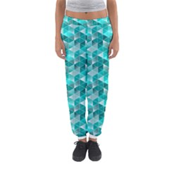 Aquamarine Geometric Triangles Pattern Women s Jogger Sweatpants