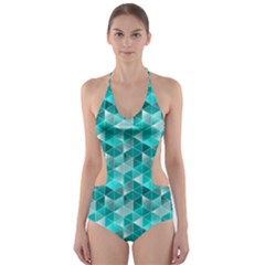 Aquamarine Geometric Triangles Pattern Cut Out One Piece Swimsuit