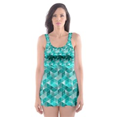 Aquamarine Geometric Triangles Pattern Skater Dress Swimsuit
