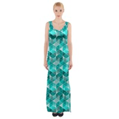 Aquamarine Geometric Triangles Pattern Maxi Thigh Split Dress