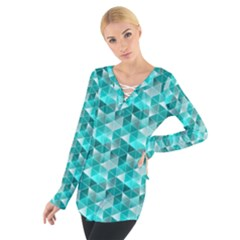 Aquamarine Geometric Triangles Pattern Women s Tie Up Tee