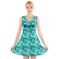 Aquamarine Geometric Triangles Pattern V-Neck Sleeveless Skater Dress