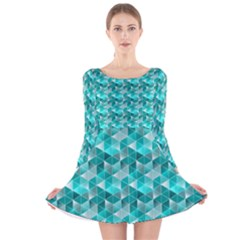 Aquamarine Geometric Triangles Pattern Long Sleeve Velvet Skater Dress