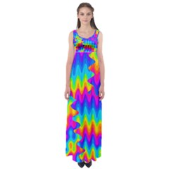 Amazing Acid Rainbow Empire Waist Maxi Dress