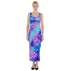 Blue and Purple Marble Waves Fitted Maxi Dress