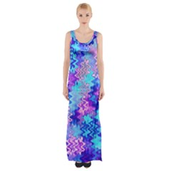Blue and Purple Marble Waves Maxi Thigh Split Dress