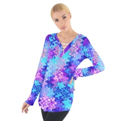 Blue and Purple Marble Waves Women s Tie Up Tee