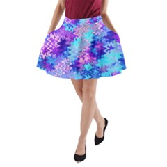 Blue and Purple Marble Waves A-Line Pocket Skirt