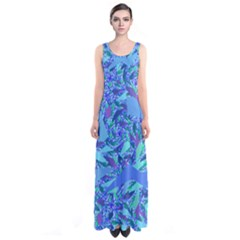Blue Confetti Storm Sleeveless Maxi Dress