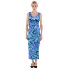 Blue Confetti Storm Fitted Maxi Dress