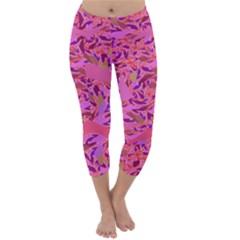 Bright Pink Confetti Storm Capri Winter Leggings