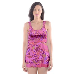 Bright Pink Confetti Storm Skater Dress Swimsuit