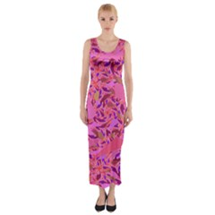 Bright Pink Confetti Storm Fitted Maxi Dress