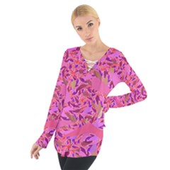 Bright Pink Confetti Storm Women s Tie Up Tee