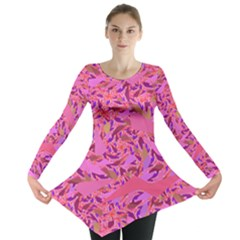 Bright Pink Confetti Storm Long Sleeve Tunic