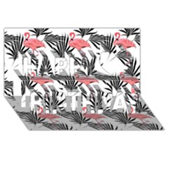 Flamingos Palmetto Fronds Tropical Pattern Happy Birthday 3D Greeting Card (8x4)