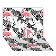 Flamingos Palmetto Fronds Tropical Pattern LOVE 3D Greeting Card (7x5)