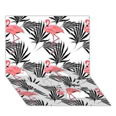 Flamingos Palmetto Fronds Tropical Pattern LOVE Bottom 3D Greeting Card (7x5)