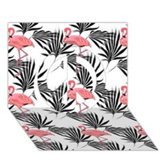 Flamingos Palmetto Fronds Tropical Pattern Peace Sign 3D Greeting Card (7x5)