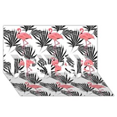 Flamingos Palmetto Fronds Tropical Pattern BEST SIS 3D Greeting Card (8x4)