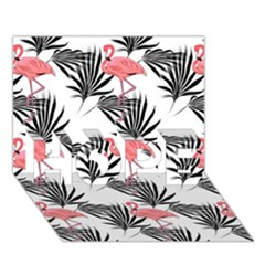 Flamingos Palmetto Fronds Tropical Pattern HOPE 3D Greeting Card (7x5)