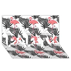Flamingos Palmetto Fronds Tropical Pattern PARTY 3D Greeting Card (8x4)