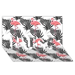 Flamingos Palmetto Fronds Tropical Pattern HUGS 3D Greeting Card (8x4)