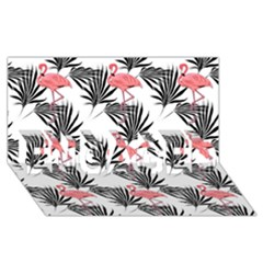 Flamingos Palmetto Fronds Tropical Pattern Engaged 3d Greeting Card (8x4)