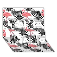 Flamingos Palmetto Fronds Tropical Pattern TAKE CARE 3D Greeting Card (7x5)