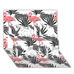 Flamingos Palmetto Fronds Tropical Pattern You Rock 3D Greeting Card (7x5)
